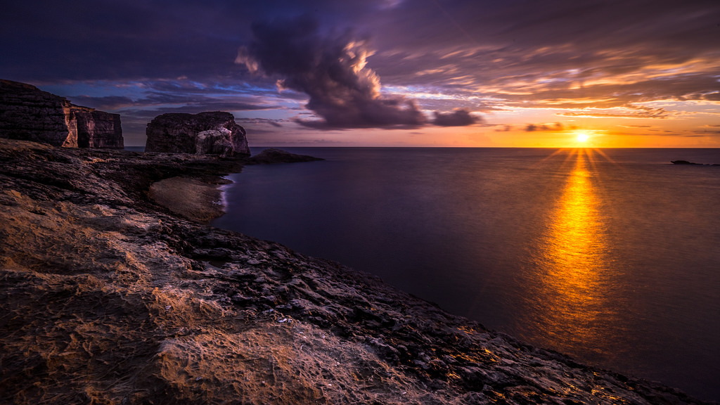 sunset in gozo island